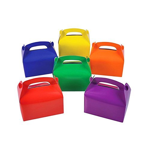 Adorox (6 x 3.5 x 3.25, Assorted 24Pk Large Lightweight Assorted Bright Rainbow Colors Cardboard Favor Boxes Treat Goody Bags Birthday Party Event Gift