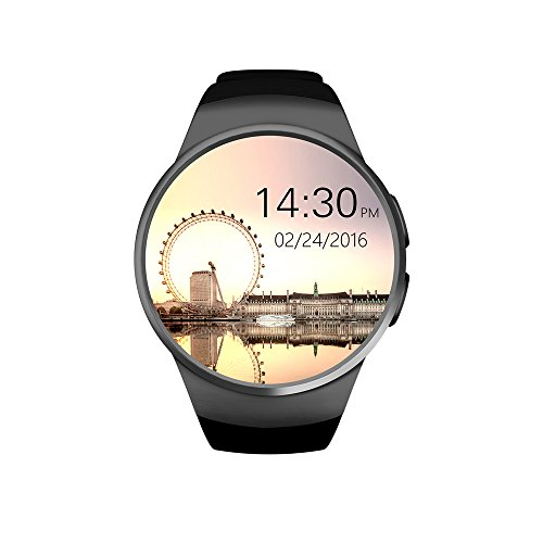Bluetooth Smart Watch KW18 Round Touch Screen Water Resistant Smartwatch Phone with SIM Card Slot,Sleep Monitor,Heart Rate Monitor wristwatch and Pedometer for IOS and Android