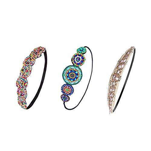 3 Stück Elastisches Haarband, Haarbänder mit Strasssteinen, Kristall Kopfkette Haarschmuck, Elastische Stirnband Strass Wulstige Haarbänder, Kopf-Verpackungs-Stirnband für Damen jeden Alters