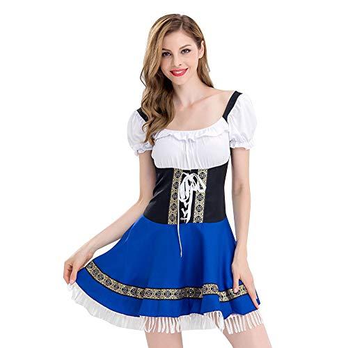 Pingtr - Damen Sexy Dessous Cosplay,2 STÜCK Frauen Bandage Piaid Bayerischen Oktoberfest Kostüme Barmaid Dirndl Kleid
