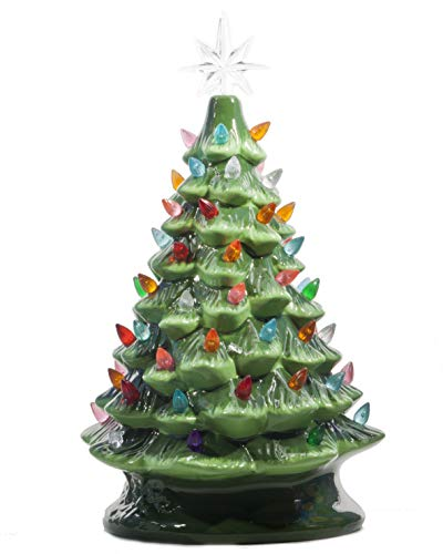 ReLIVE Christmas is Forever Lighted Tabletop Ceramic Tree, 16 Inch Green Tree with Multicolored Lights