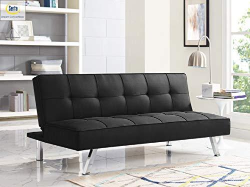 Serta RNE-3S-BK-SET Rane Collection Convertible Sofa, L66.1 x W33.1 x H29.5, Black