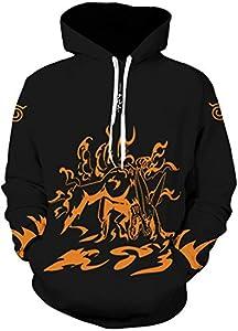 PANOZON Sudadera Naruto Niño Capucha Manga Larga Camiseta de Naruto Kakashi Impresa 3D Casual Moda Calle (M, Negro 20-5)