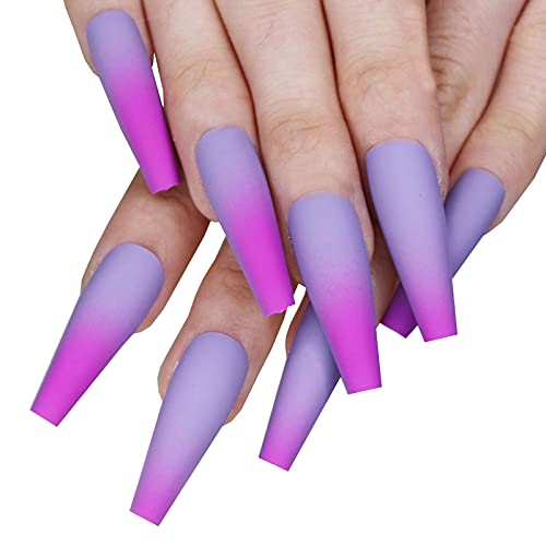 MISUD Ombre Fake Nails, Coffin Long Ballerina Press On Nails, Natural Full Cover...