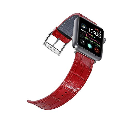 Faytop for Apple iWatch Band 42mm 44mm Series 4/3/2/1 Women Men,Shiny Croco Grain Finish Genuine Leather Strap Replacement for Apple iWatch Band Bracelet Red