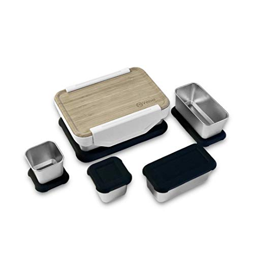 reVessel Adventure Kit - Stainless steel bento box with two 1-cup and two 2-cup modular containers - Leakproof bamboo lid kit - All containers come with silicone storage lids