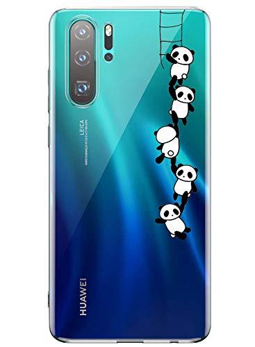 AIsoar Schutzhülle für Huawei P30 Pro, ultradünn, kristallklar mit modischem Muster, weiches TPU-Silikon-Bumper, unterstützt kabelloses Aufladen, stoßfest, Panda