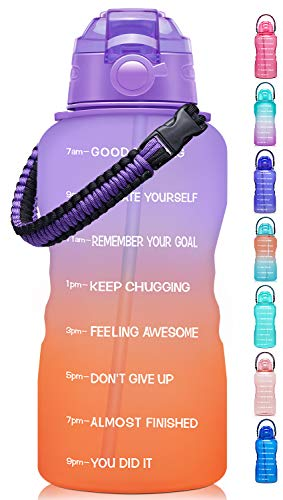 Fidus Large Half Gallon/64OZ Motivational Water Bottle with Paracord Handle & Removable Straw - BPA Free Leakproof Water Jug with Time Marker to Ensure You Drink Enough Water Daily-Purple/Coral