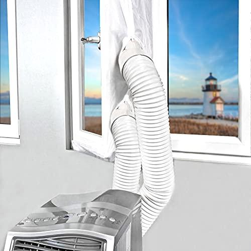 JTENG 400CM Guarnizione Universale per Finestre per Condizionatore Portatile, Asciugatrice per Tutti Climatizzatori Mobili, Facile da Montare – con Zip, Chiusura a Strappo(Doppia apertura)