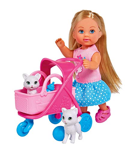 Simba 105733348 - Evi Love Cat Buggy / mit zwei Katzen im Katzenbuggy / herausnehmbare Tasche / Zubehör / Ankleidepuppe / 12cm, für Kinder ab 3 Jahren