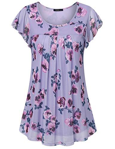 Damen Sommer Tops, Damen Tunika Tops Casual Shirts Rüschenärmel Layered Bluse Tops Rundhalsausschnitt A-Linie Plissee Büro Bluse für Frauen für Sommer Mehrfarbiges Violett Medium
