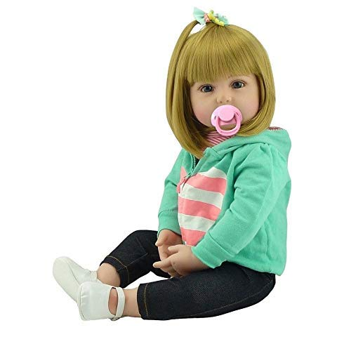 iCradle Lovely Handmade Soft Silicone Reborn Baby Girl Doll 22 Inch 55cm Realistic Looking Newborn Vinyl Dolls Toddler Toy for Kid Xmas Gift Golden Hair