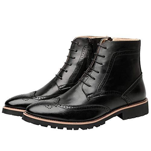 Botas Cortas Hombres Zapatos De Cuero Tallado De Buey Botas Altas Botas De Estilo Británico Caballero De La Motocicleta Botas Zapatos Ecuestres Trabajo De Oficina Al Aire Libre Senderismo,Black-39