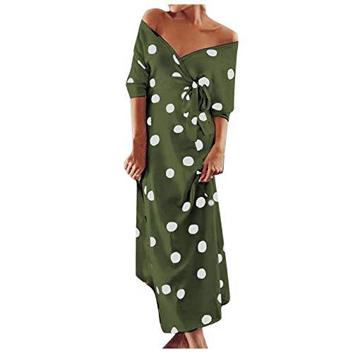 Liably Vestido de mujer con cuello de pico, hombros descubiertos, largo hasta el tobillo, estilo elegante Verde militar. XXL