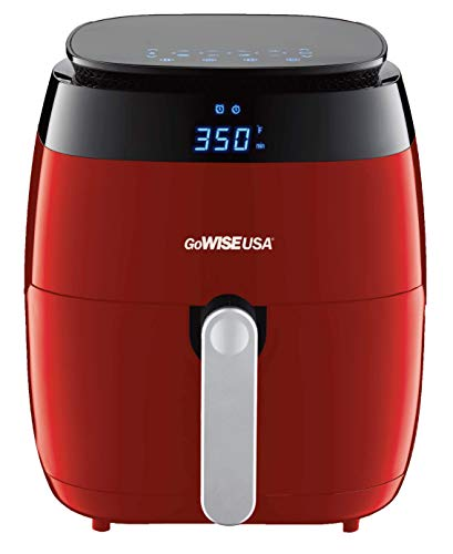 GoWISE USA GW22826-S 5-Quart Air Fryer with 8 Cooking Presets and Duo Display + 100 Recipes, 5.0-Qt, Red