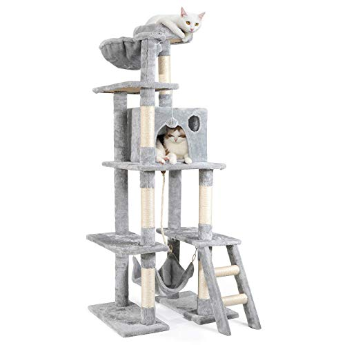 rabbitgoo Cat Tree Cat Tower 61' for Indoor Cats, Multi-Level Cat Condo with Hammock & Scratching Posts for Kittens, Tall Cat Climbing Stand with Plush Perch & Toys for Play Rest