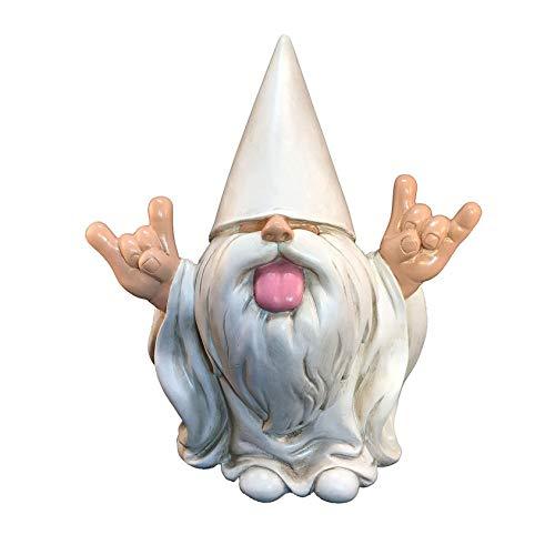 Bascar Rocker Gnome - Este gnomo robará su jardín de hadas y jardín de 5 pulgadas de altura