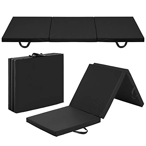 Best Choice Products 6ftx2ftx2in Folding Gym Mat Tri-Fold Exercise Gymnastics Aerobics Workout Fitness Floor Mat w/Carrying Handles – Black