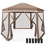 COOS BAY 6 Sided Hexagon Pop Up Gazebo Tent w/ Mosquito Netting (90 Square Feet of Shade) Easy Setup Center Push Outdoor Instant Gazebo Canopy Shelter (Beige )