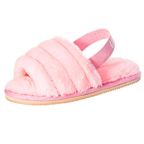 UBXRIN Womens Fuzzy Fluffy House Slippers Slide Furry Fur Sandals with Strap Soft Plush Open Toe Indoor Outdoor Pink