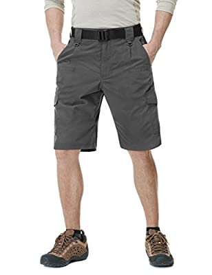 CQR Mens Hiking Tactical Shorts, Quick Dry Fishing Shorts, Lightweight Outdoor Rip-Stop EDC Assault Cargo Short, Tactical Shorts(tsp203) - Charcoal, 34