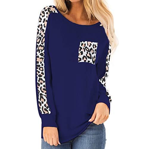 Shirt Damen Top Damen Einfarbig Elegant Rundhals Bequem Langarm-T-Shirt Mit Leopardenmuster Tasche Lässige Elastische Stoff Lose Damen Tops Mode Damenbekleidung E-Blue XXL