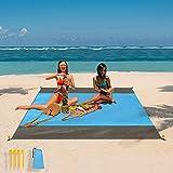 Picknickdecke, Beach Blanket 210x200 cm, Ultraleicht Kompakt Sandabweisend Wasserdicht Strandmatte Outdoor Campingdecke, mit 4 Befestigung Ecken, für Park BBQ, Strand, Reisen, Camping und Picknick