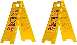 Essentially Yours 2 Pack Kids Playing Safety Sign (Double-Sided, Yellow) - Caution, Slow, Kids at Play