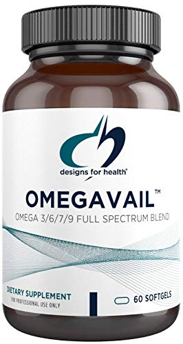 Designs for Health OmegAvail Synergy - Omega 3-6-7-9 Fatty Acids + Triglyceride (Tg) Fish Oil Capsules (60 Softgels)