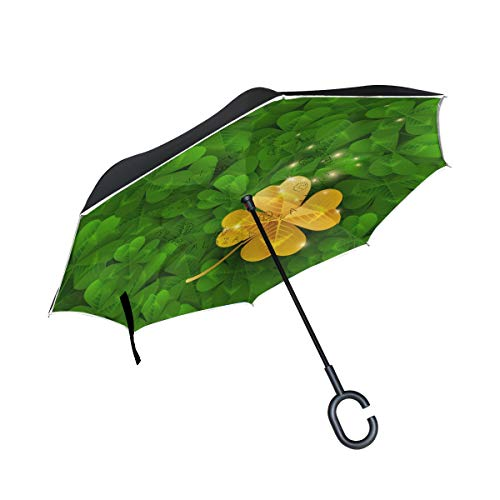 Lucky Golden Four Leaf Clover Reverse Umbrella para Coche a Prueba de Viento con manija en Forma de C Patio Umbrella Letter Outdoor Umbrella