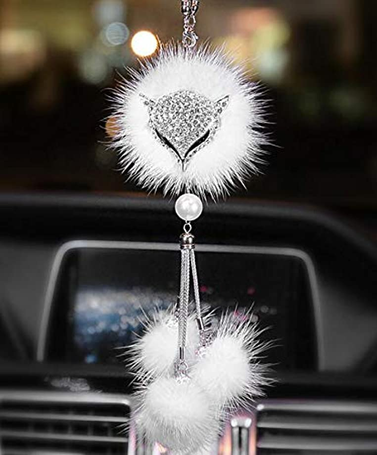SZWGMY Car Auto Rearview Mirror Pendant Crystal Fox Lucky Hanging Ornament Car Interior Decoration Car Accessories Home Decor … (White)