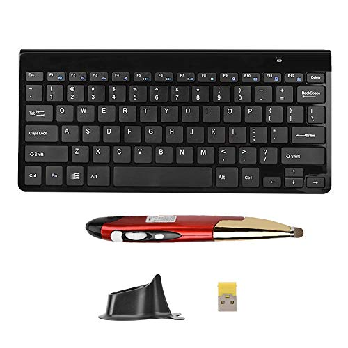 Ratón con Teclado inalámbrico, Mini ratón con Teclado, Emparejamiento rápido para computadora portátil(Black Keyboard + Red Pen Mouse)