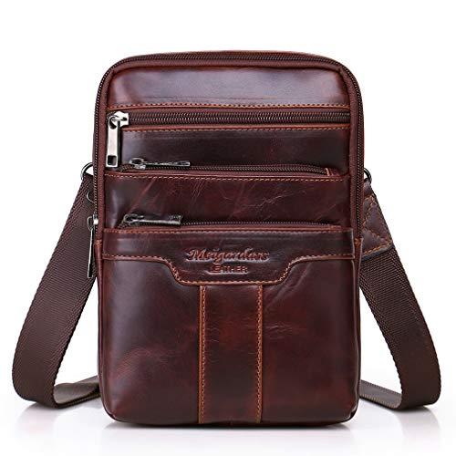Xieben Business Leder Crossbody Reisetasche Schulter Umhängetasche für Herren Frauen Handyhalter Travel Pack Brieftasche Gürteltasche Sling Brusttasche Redbrown
