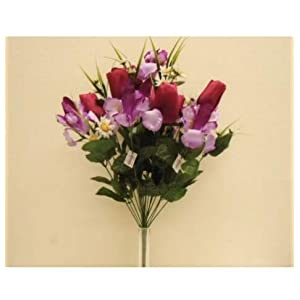 GF Artificial Silk Flowers Beauty Purple Mix Tulip Iris Bush 22 22″ Bouquet MG019