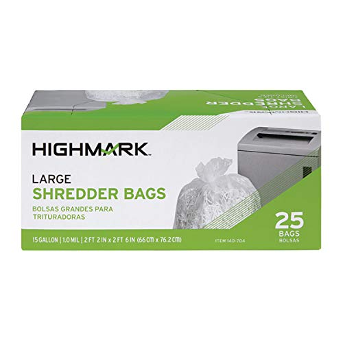 Highmark Shredder Bags, 1 mil, 15 Gallons, Clear, Box of 25, DP00704