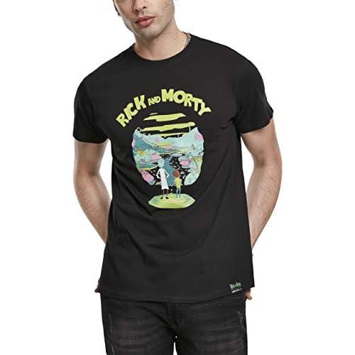 MERCHCODE Rick And Morty Logo Tee T-Shirt, Black, S Uomo