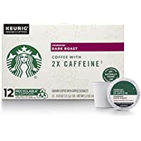 48-Count (4 x 12-Pack) Starbucks Dark Roast K-Cup Coffee Pods with 2X Caffeine for Keurig Brewers