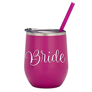 Bride - 12oz Magenta Stainless Steel Wine Tumbler