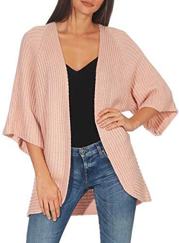 Malito Mujer Lana-Chaqueta Superior Cardigan Suéter Pullover 0185 (Adecuado de la Talla 40 hasta 46, Rosa)