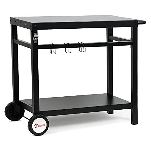 BBQ-Toro Grillwagen 85 x 50 x 81 cm | Metall Grilltisch mit großer Arbeitsfläche | Grill Beistelltisch Outdoor Grill Trolley Grilltisch Outdoor Servierwagen Outdoor Garten Trolley (Schwarz)