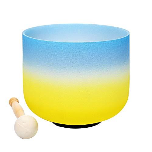 Juego de cuencos de meditación, cuenco de cristal de cuarzo con mazo y junta tórica para chakras, curación de la atención plena, tonos C, 35,5 cm