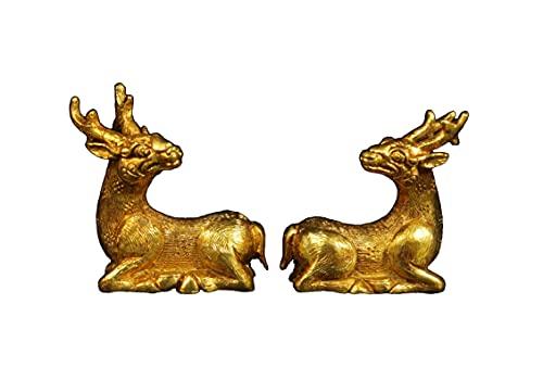 LAOJUNLU Un par de preciosos ciervos dorados exquisitamente en forma de oro puro antiguo colección de joyas de estilo tradicional chino solitario