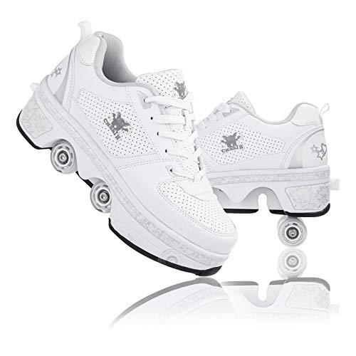YPYGYB Roller Skates for Women Outdoor, Shoes with Wheels for Girls/Boys, 2 in 1 Double Line Skates/Kick Rollers Shoes for Adults, Adjustable Quad Roller Skates Boots, Unisex Walking Shoes,White1-41