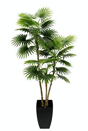 Flair Flower Künstliche Fächerpalme im konischen Topf Pflanzen Palme Kunstpalme Kunstpflanze Dekopalme Schirmpalme Kunstbaum Palmenbaum, grün, 105 cm