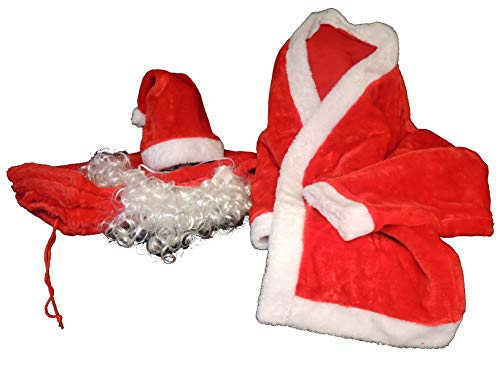 eacommerce Completo Vestito di Babbo Natale Velluto Pantaloni con Elastico + Cintura + Giacca + Barba + Cappello Adulto
