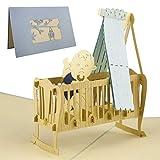 Karte zur Geburt, Glückwunschkarte, Baby Junge, blau, Pop-Up Karte, Baby...