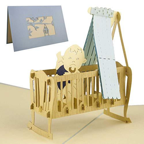 Karte zur Geburt, Glückwunschkarte, Baby Junge, blau, Pop-Up Karte, Baby Geschenk, Gastgeschenk zur Geburt, elegant und edel, G09.2