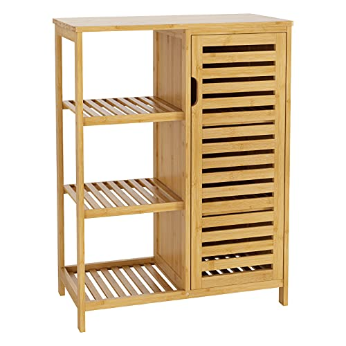 HOMECHO Bathroom Storage Cabinet, Side Floor Cabinet with 3 Open Shelves and Door, Bamboo Accent Cabinet Cupboard for Living Room, Kitchen, Hallway, Natural