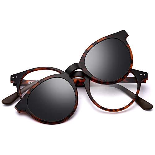 STGATN Magnetic Polarized Clip On Sunglasses Vintage Lightweight Glasses Frame Men Women Myopia Eyewear
