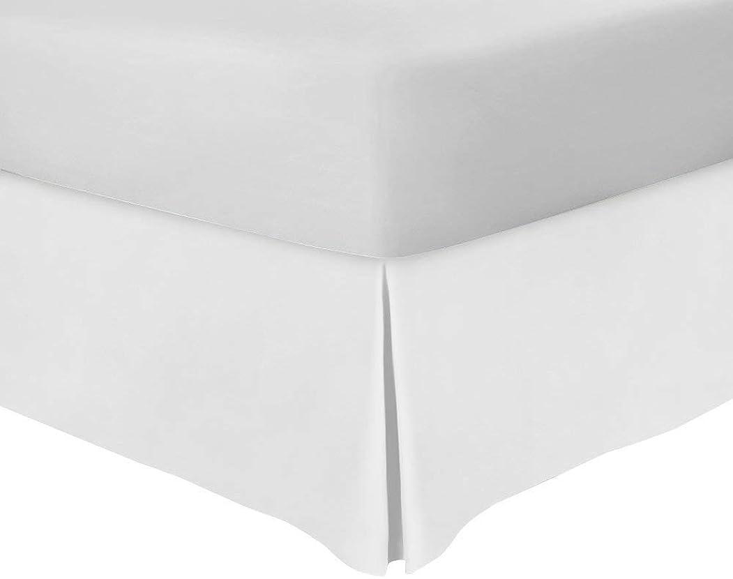 行う突き出すマントルベッドスカート キング ホワイト 45.72cm ドロップ テイラード ポプリン スプリット コーナー ベッドスカート 680スレッドカウント 品質 100% エジプト綿 鉄 簡単 4重プリーツ しわと色あせ防止 ベッドスカート キング 78X80 ホワイト
